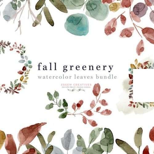 Watercolor Fall Leaves Clipart Background Graphics, Laurel Wreath Digital Floral Card Border, Autumn Leaf Foliage Frame