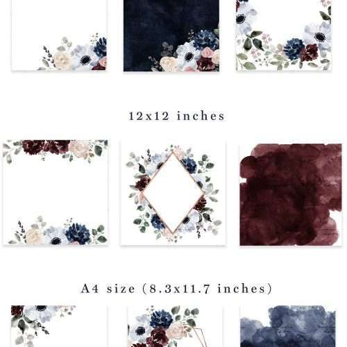Watercolor Flowers Clipart Background Border Wreath Bouquet, Navy Burgundy Floral Graphic Set, Watercolor Floral Design Corner | These are perfect for creating watercolor fall floral wedding invitations, thanksgiving invitations, gender neutral baby shower invitations, save the date cards, photography marketing, feminine logo blog brand, birthday party, bridal shower, planner stickers, planner dashboard decor, wall art prints. #watercolor #weddinginvitation #scrapbooking #digitalplanning