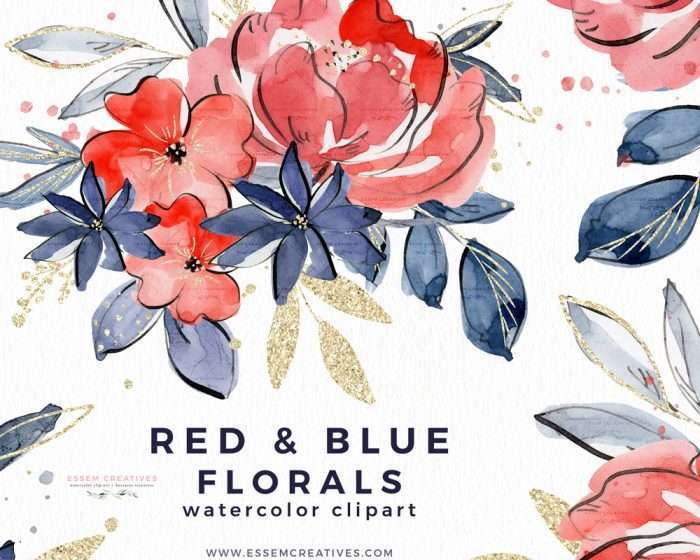 4th of July Watercolor Flowers Clipart PNG Background, Red Blue Gold Watercolor Florals Commercial Use | Watercolor Clip Art | Perfect for 4th of July Independence Day Party Invitations, rustic, vintage watercolor wedding invitations, digital scrapbooking, bridal shower invites party, baby shower invites, Save the Date cards, birthday party, menu, table numbers, welcome sign, logo branding packaging, gift tags, greeting cards, planner stickers for commercial use #4thofjuly
