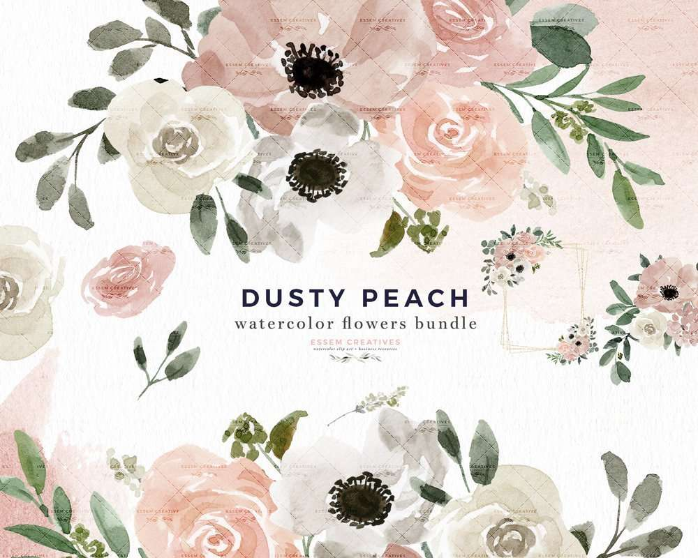 Dusty Peach Watercolor Flowers Clipart Background Border Wreath Bouquet, Watercolor Floral Corners Frames Graphics | Watercolor Clip Art | Perfect for rustic, vintage watercolor wedding invitations, digital scrapbooking, bridal shower invites party, baby shower invites, Save the Date cards, birthday party, menu, table numbers, welcome sign, logo branding packaging, gift tags, greeting cards, planner stickers for commercial use. Click to see more>> #watercolorclipart