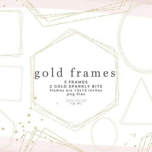 Gold Frames PNG Clipart, Empty Gold Glitter Geometric Frames