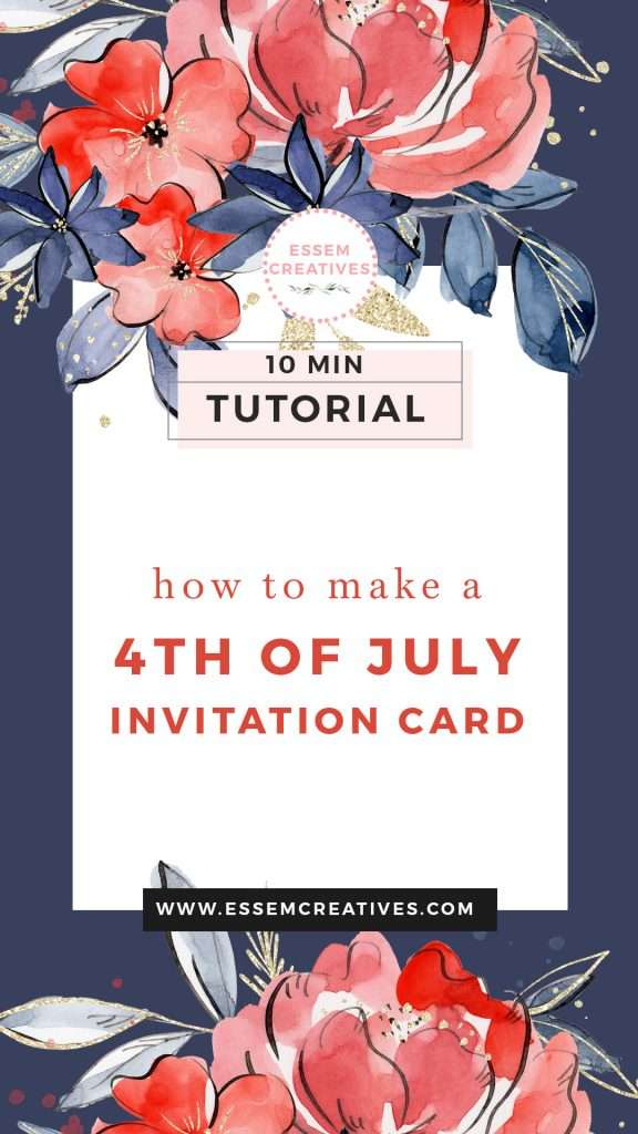 How to Make a 4th of July Invitation Card (with Wording) - Floral Watercolor   Click to see how you can create a professional looking invitation that your friends & family love and admire! >> #4thofjuly #fourthofjuly