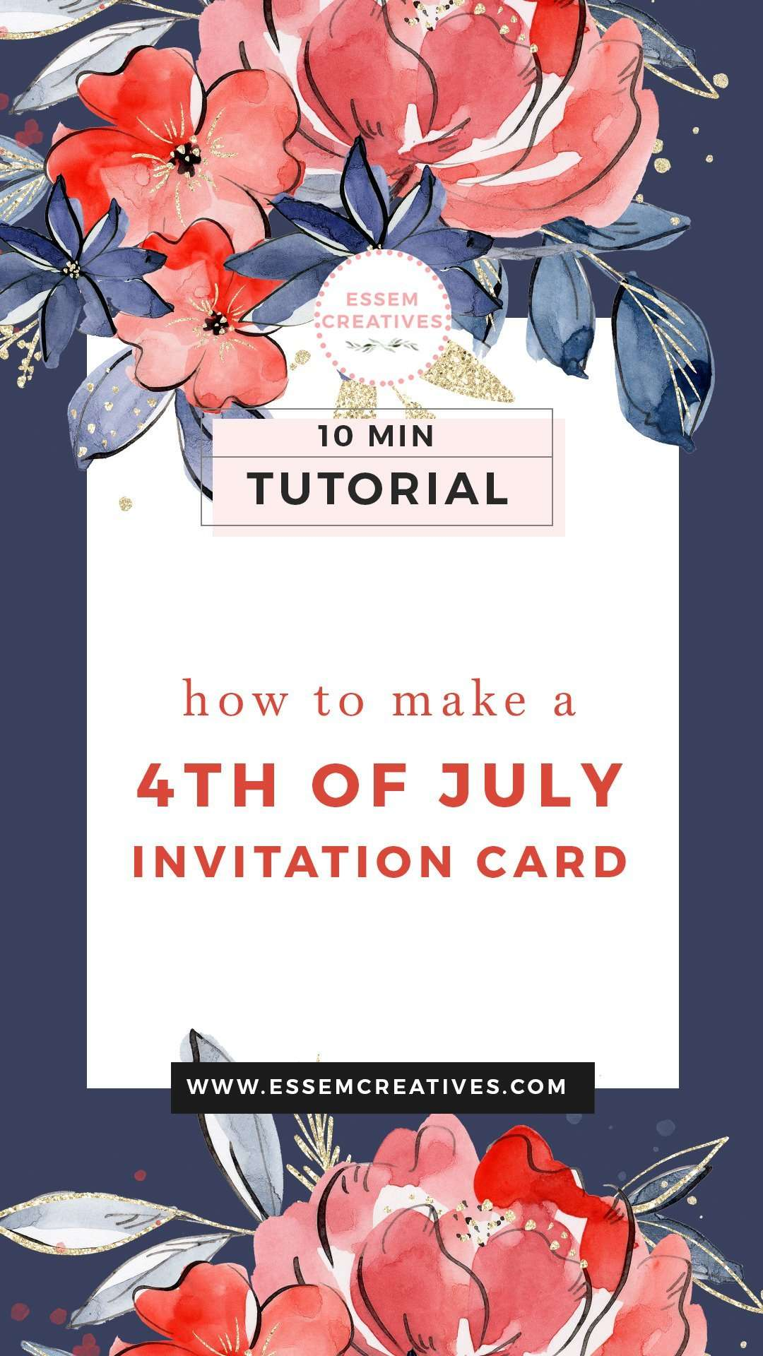 How to Make a 4th of July Invitation Card (with Wording) - Floral Watercolor | Click to see how you can create a professional looking invitation that your friends & family love and admire! >> #4thofjuly #fourthofjuly