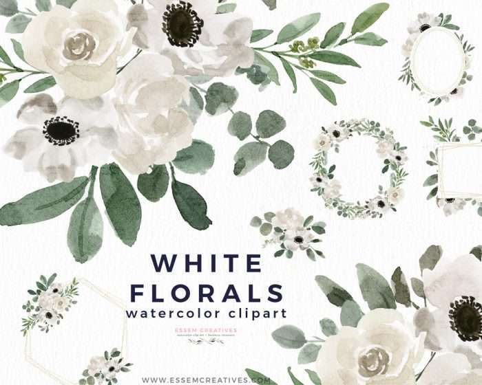 White Watercolor Flowers Clipart Background Border Wreath Bouquet, Watercolor Floral Corners Frames Graphics | Perfect for rustic, vintage watercolor wedding invitations, bridal shower party, gender neutral baby shower invites, Save the Date cards, birthday party, menu, table numbers, welcome sign, logo branding packaging, gift tags, greeting cards, planner stickers for commercial use. Click to see more>> #weddinginvitations
