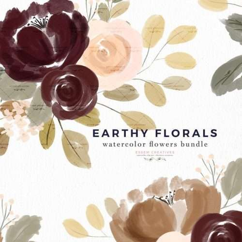 Earthy Fall Floral Watercolor Clipart Background Border Wreath Bouquet Corners Frames Graphics | These are perfect for creating fall floral wedding invitations, watercolor halloween invites, thanksgiving invitations, gender neutral baby shower invitations, save the date cards, photography marketing, feminine logo blog brand, birthday party, bridal shower, planner stickers, planner dashboard decor, wall art prints. #thanksgiving #clipart #watercolorfloral #weddinginvitations #scrapbooking