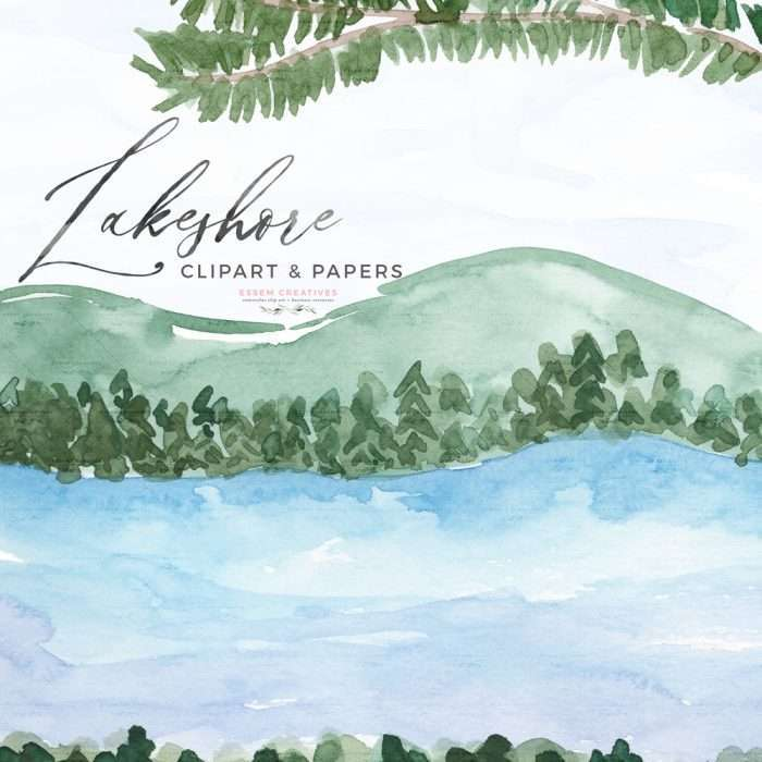 Lakeshore Watercolor Clipart Theme, Lakeside Watercolor Card Background Template Illustration | Lakeshore Wedding Invitation, Bridal Shower, Baby Shower, Instagram Stickers, Digital Stickers, Planner Stickers, Graphic Design Resources for Invitations, Stationery, Scrapbook Paper, Sublimation Design Ideas, Print and Cut Circuit Crafts and more | Click to see more>> #watercolor #lakeshore