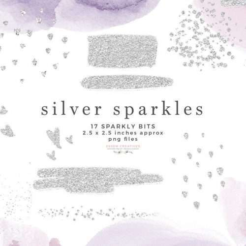Silver Sparkles Glitter Confetti Overlay Clipart with Transparent Background | Silver Overlay Graphics for Commercial Use >> #silver #digitalstickers #plannerstickers #digitalplanner #silverfoil
