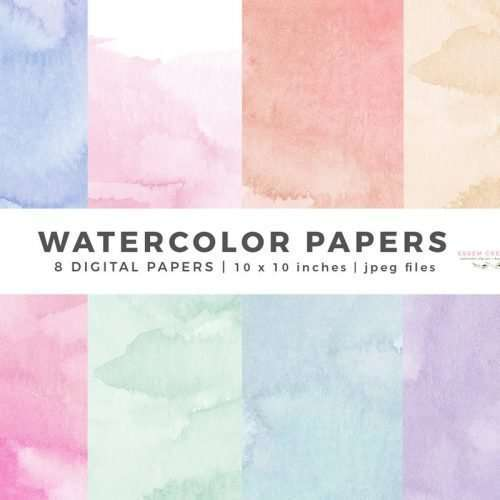 Watercolor Papers, Digital Papers Watercolor Background Textures Overlays Printable Scrapbook Paper