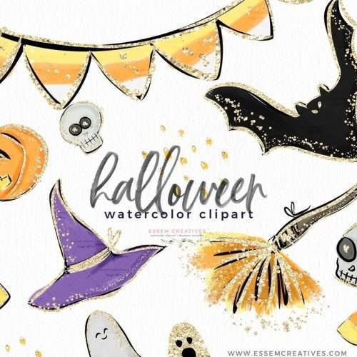 Watercolor Halloween Clip Art Graphics Illustrations, Candy Corn Broom Pumpkin Witch Hat Ghost Bats Skull Clipart with Gold Accents