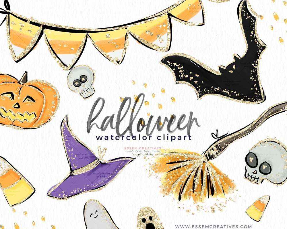 Watercolor Halloween Clip Art Graphics Illustrations Candy Corn Broom Pumpkin Witch Hat Ghost Bats Skull Clipart With Gold Accents Essem Creatives Watercolor Clipart Business Branding