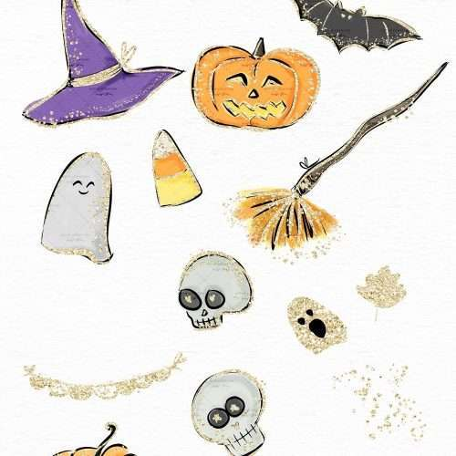 Watercolor Halloween Clip Art Graphics Illustrations, Candy Corn Broom Pumpkin Witch Hat Ghost Bats Skull Clipart with Gold Accents | This Halloween Clipart Set is perfect for stationery designs, halloween posters, classroom and school decor for halloween, planner stickers, scrapbooking, sublimation prints, and more! Use these halloween graphics to create quick and easy designs! Commercial Use Graphics. Click to see more>> #halloween #halloweendecor #halloween2020 #halloween2021