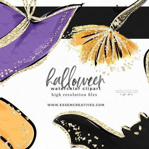 Watercolor Halloween Clip Art Graphics Illustrations, Candy Corn Broom Pumpkin Witch Hat Ghost Bats Skull Clipart with Gold Accents   This Halloween Clipart Set is perfect for stationery designs, halloween posters, classroom and school decor for halloween, planner stickers, scrapbooking, sublimation prints, and more! Use these halloween graphics to create quick and easy designs! Commercial Use Graphics. Click to see more>> #halloween #halloweendecor #halloween2020 #halloween2021