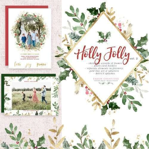 Holly Jolly Watercolor Christmas Clipart, Christmas Wreath Clip Art, Holiday Photo Card Templates Borders | This Christmas Graphics Set has gorgeous winter greens and evergreen with red and gold accents. Create holiday designs - holiday cards, Christmas cards, gift tags, greeting card, Christmas wedding invitations, winter wedding invites, gift labels, wrapping paper, invitations, scrapbooking Pine, evergreen, holly jolly branches, mistletoe, eucalyptus. Click to see more>> #christmas #holidays