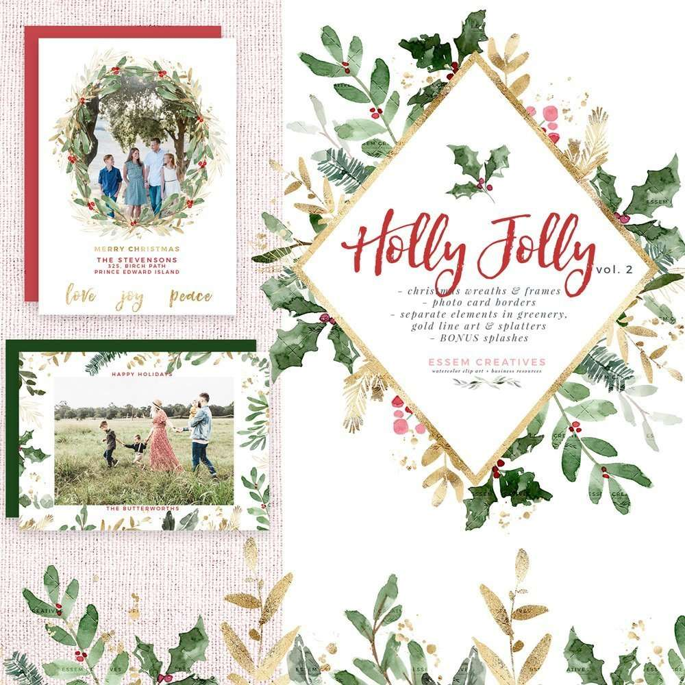 holly jolly watercolor christmas clipart christmas wreath clip art holiday photo card templates borders graphics essem creatives watercolor clipart business branding holly jolly watercolor christmas clipart christmas wreath clip art holiday photo card templates borders graphics
