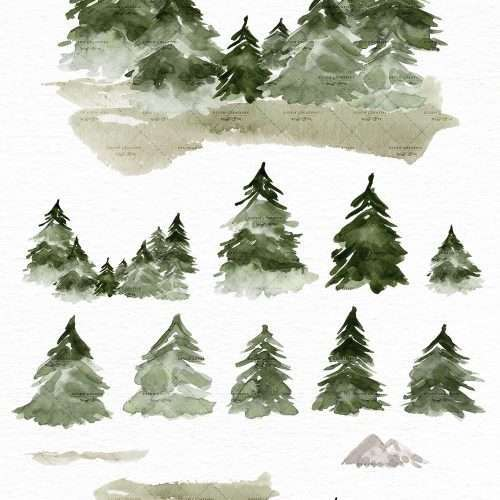 Watercolor Forest Clipart, Pine Trees Christmas Tress Woodland In the Woods Graphics Background | Rustic Watercolor Wedding Invitation, Bridal Shower, Gender Neutral Baby Shower Card Invite, Birthday Party, Christmas Trees Graphics Birth Announcement, Instagram Stickers, Digital Stickers, Planner Stickers, Graphic Design Resources, Stationery, Scrapbook Paper, Sublimation Design Ideas, Print and Cut Circuit Craft, Commercial Use| Click to see more>>