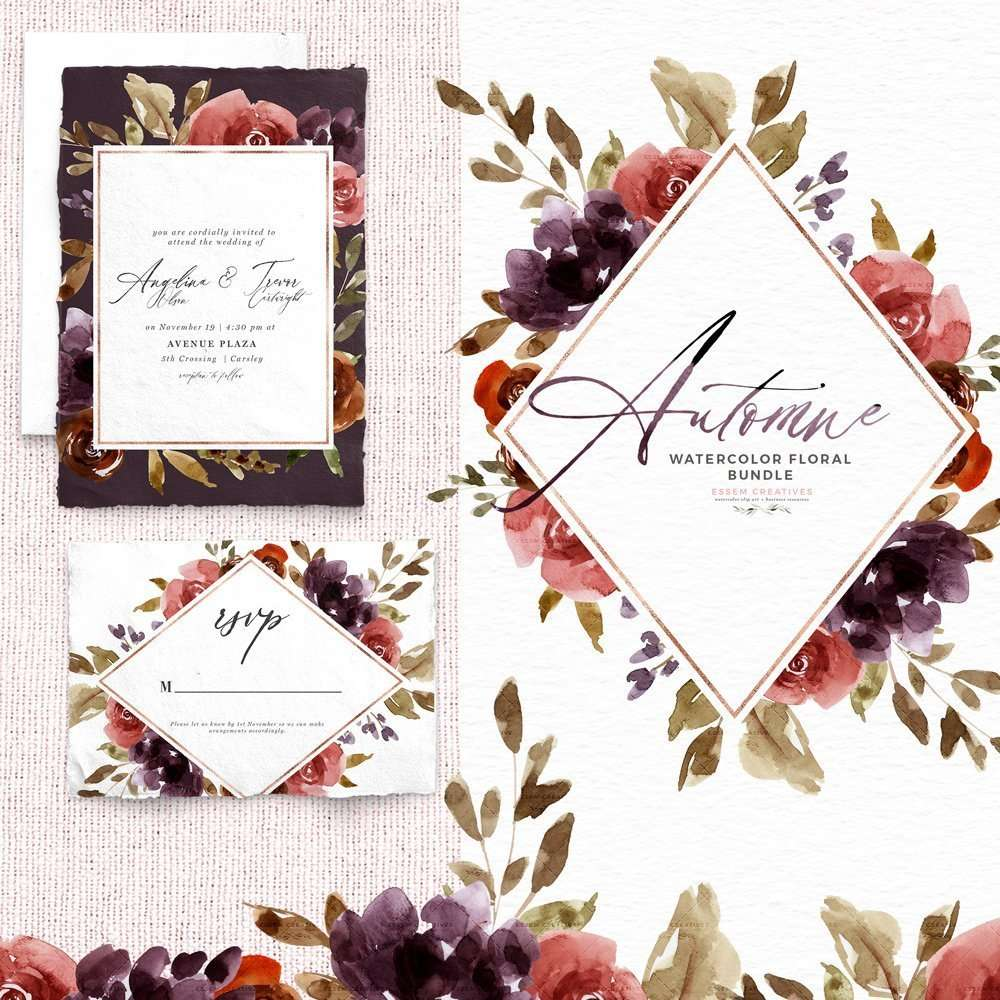 Automne Purple Fall Floral Clipart, Wine Watercolor Flowers Clip Art, Autumn Floral Background Card Borders | These are perfect for creating fall floral wedding invitations, watercolor birthday invites, thanksgiving invitations, baby shower invitations, save the date cards, photography marketing, feminine logo blog brand, birthday party, bridal shower, planner stickers, planner dashboard decor, wall art prints. #thanksgiving #clipart #watercolorfloral #weddinginvitations #scrapbooking