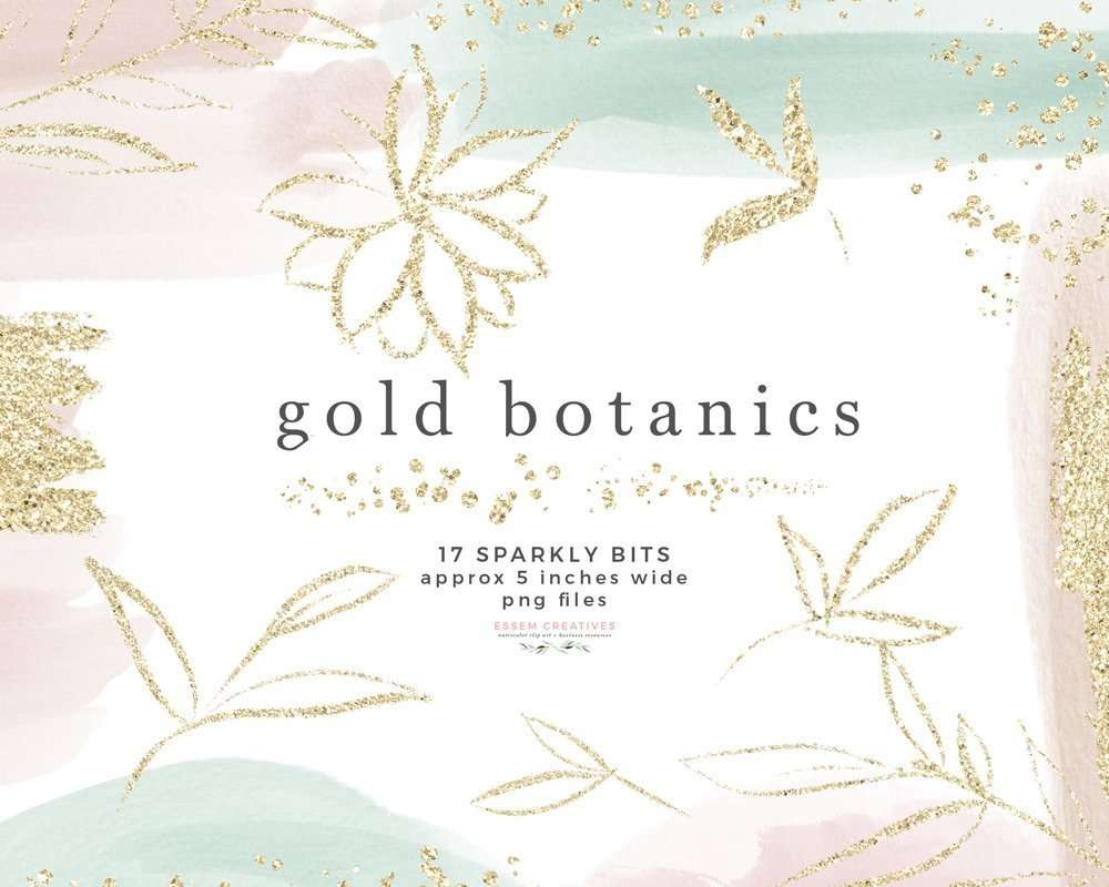 Gold Botanics Clipart, Sparkle Glitter Clipart Overlay, Sublimation PNG | Instant download | Logo Design & Branding, Scrapbooking, Instagram Story Highlight Icons and covers, Wedding Invitations and for designing social media posts as well. Create labels, birthday party invitations, bullet journal decor, digital planner stickers, save the date cards, photography marketing material, birthday party invites, baby shower decor, bridal shower invitations, nursery art prints, planner stickers & more