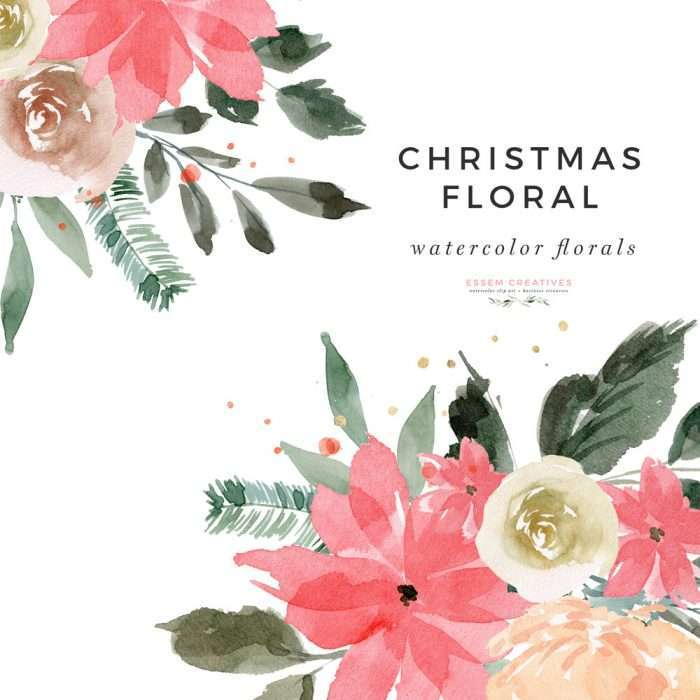 Watercolor Floral Christmas Clipart, Winter Christmas Wreath Clip Art, Holiday Graphics for Invitations Posters | This Christmas Graphics Set has gorgeous winter greens and evergreen with red and gold accents. Create holiday designs - holiday cards, Christmas cards, gift tags, greeting card, Christmas wedding invitations, winter wedding invites, gift labels, wrapping paper, invitations, scrapbooking Pine, evergreen, poinsettia, eucalyptus. Click to see more>>