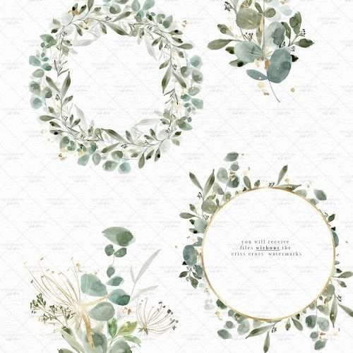 Watercolor Eucalyptus Clipart, Light and Gold Eucalyptus Leaves Greenery Foliage Wreath Gold Frame Graphics PNG Commercial Use | Spring Summer Watercolor Clip Art | Perfect for rustic, vintage watercolor wedding invitations, digital scrapbooking, bridal shower invites party, gender neutral baby shower invites, scrapbooking, digital papers, Save the Date cards, birthday party, menu, table numbers, welcome sign, logo branding packaging, gift tags, greeting cards, planner stickers