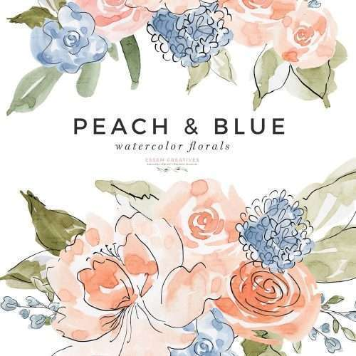 Peach and Blue Watercolor Flowers Clipart Illustration Graphics, Line Art Spring Summer Florals for Wedding Invitations Bridal Shower Baby Shower PNG Commercial Use | Spring Summer Watercolor Clip Art | Perfect for rustic, vintage watercolor wedding invitations, digital scrapbooking, bridal shower invites party, gender neutral baby shower invites, scrapbooking, digital papers, Save the Date, birthday party, menu, table numbers, welcome sign, logo branding, gift tags, planner stickers