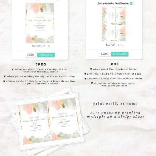Blush Sage Gold Watercolor Wedding Invitation Suite Editable Templates Instant Download with Gold Foil Geometric Accents | Watercolor Wedding Invitation Design Suite | Printable Wedding Invites | Blush and Gold Editable Invitations >>