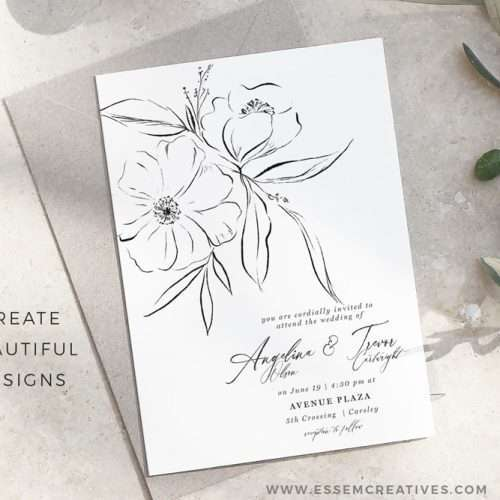 Delicate Line Art Floral Illustration Graphics, Black and White Botanical Flowers for Modern Minimal Wedding Invitations | These are perfect for creating minimal elegant high end luxe wedding invitations, birthday invites, thanksgiving invitations, baby shower invitations, save the date cards, photography marketing, black and white logo blog brand, birthday party, bridal shower, planner stickers, planner dashboard decor, wall art prints, commercial use clip art | Click to see more>>