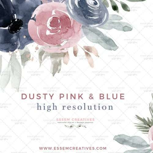 Dusty Pink and Blue Watercolor Flowers Clipart Illustration Graphics, Fall Winter Florals for Wedding Invitations Bridal Shower Baby Shower | These are perfect for creating fall winter floral wedding invitations, watercolor birthday invites, thanksgiving invitations, baby shower invitations, save the date cards, photography marketing, feminine logo blog brand, birthday party, bridal shower, planner stickers, planner dashboard decor, wall art prints, commercial use clip art | Click to see more>>