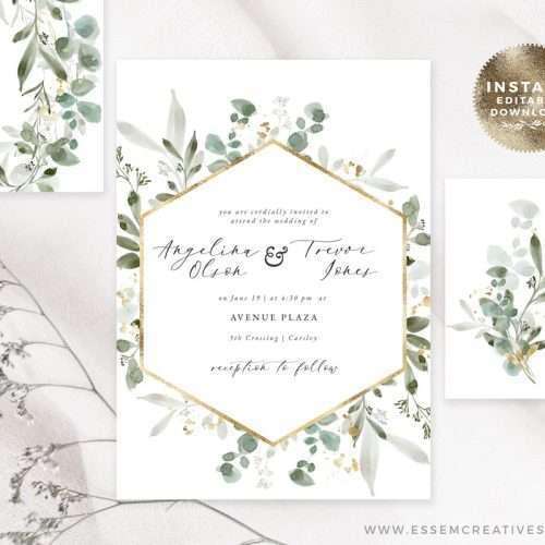 Watercolor Eucalyptus Gold Wedding Invitation Suite Editable Templates Instant Download | Printable Wedding Invitation | Greenery Wedding Invitation Design Download >>