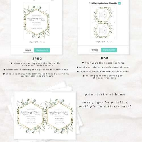 Watercolor Eucalyptus Gold Wedding Invitation Suite Editable Templates Instant Download | Printable Wedding Invitation | Greenery Wedding Invitation Design Download >>