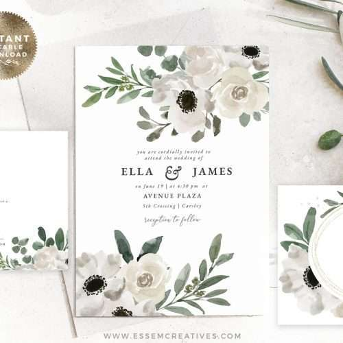 White Floral Watercolor Wedding Invitation Suite Editable Template Instant Download | Rustic Wedding Invite | Vintage Bridal Shower Invitation Set Kit Bundle | Printable Wedding Invitations | Click to demo >>