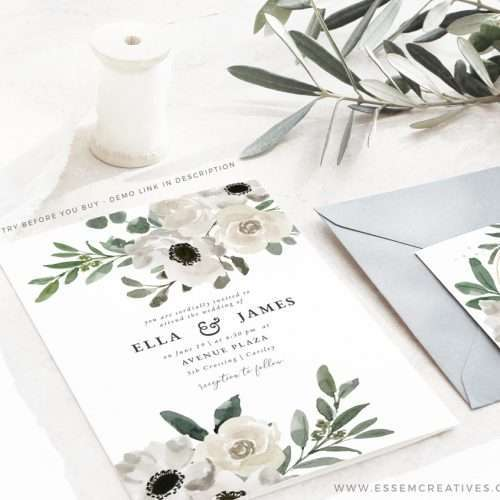White Floral Watercolor Wedding Invitation Suite Editable Template Instant Download   Rustic Wedding Invite   Vintage Bridal Shower Invitation Set Kit Bundle   Printable Wedding Invitations   Click to demo >>
