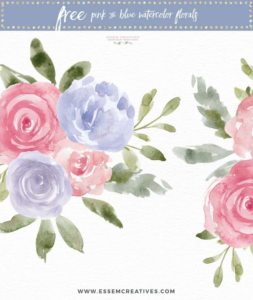 Free Pink and Blue Watercolor Flowers Clip Art Download PNG for Personal Use | Floral watercolour wedding invitations, save the date card, gender reveal party invites, gender neutral baby shower invitations, posters flyers, scrapbooking resources, surface pattern illustration, digital planner stickers, flower logo & brand design, nursery decor, photography backdrop, card borders | Click to see more>>
