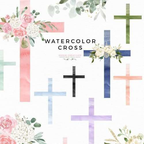 Watercolor Cross Clip art, Floral Cross Graphics, Baptism First Communion Sublimation PNG, Print and Cut File | This is a set of watercolor cross clipart. This set of digital graphics includes hand painted watercolor crosses, pre-made floral crosses and floral arrangements for DIY designs. They work perfectly as Baptism Sublimation PNG graphics and also for  Print and Cut projects for Baptism, First Communion, and other religious designs. Click to see more>>