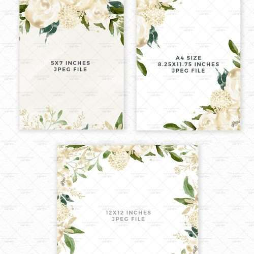 White Watercolor Flowers Clip Art, Ivory Florals Graphics Illustrations, Neutral Classic Cream and Greenery Florals Sublimation PNG White Flowers Print and Cut File | Perfect for stationery designs, logo, branding, planner stickers, scrapbooking, sublimation prints, Winter Spring Summer watercolor wedding invitations, save the date cards, logo & branding, gift tags,  baby shower invitations, greeting cards, birthday party or bridal shower invites and more. Click to see more>>