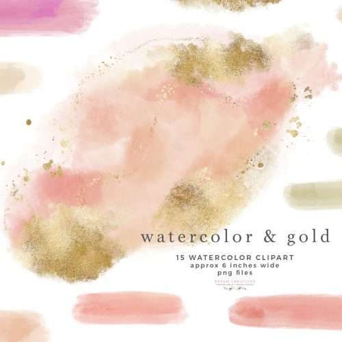 Blush pink peach gold watercolor splash texture clipart, brush strokes, paint marks, gold splatters. Make Insta story highlight covers, logo & branding, website headers, and print designs like wedding invitations, table numbers, welcome signs, etc.| Instagram Story Highlight, watercolour clipart for wedding invitations, watercolor labels, birthday party invitations, bullet journal, baby shower, bridal shower, planner stickers decor, wall art prints, sublimation, scrapbooking