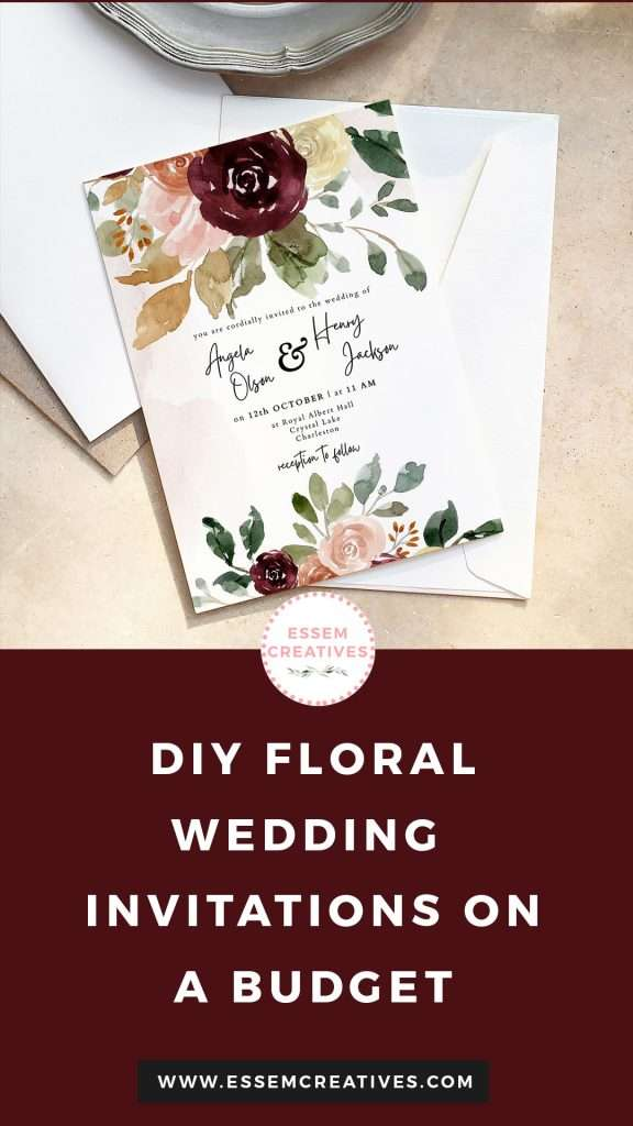 DIY Floral Burgundy Watercolor Wedding Invitations on a Budget | Learn how to make your own DIY Wedding Invitations on Canvas - quick easy affordable cheap Printable Wedding Stationery | Easy Printable Watercolor Fall Wedding Invites | Quick and Easy Canva Design Tutorial | Click to watch >>
