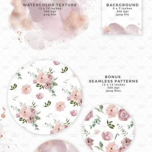 Dusty Pink Mauve Flowers Wreath Watercolor Clipart, Floral Bouquets for Wedding Invitations, Wall Art Graphic Design Resources for Commercial Use 2021 2022 2023 | Perfect for rustic, vintage watercolor wedding invitations, sublimation design png, bridal shower party, baby shower invites, Save the Date cards, birthday party, menu, table numbers, nursery wall art printable, digital stickers, welcome sign, logo branding packaging, gift tags, greeting cards, planner stickers. Click to see more>>
