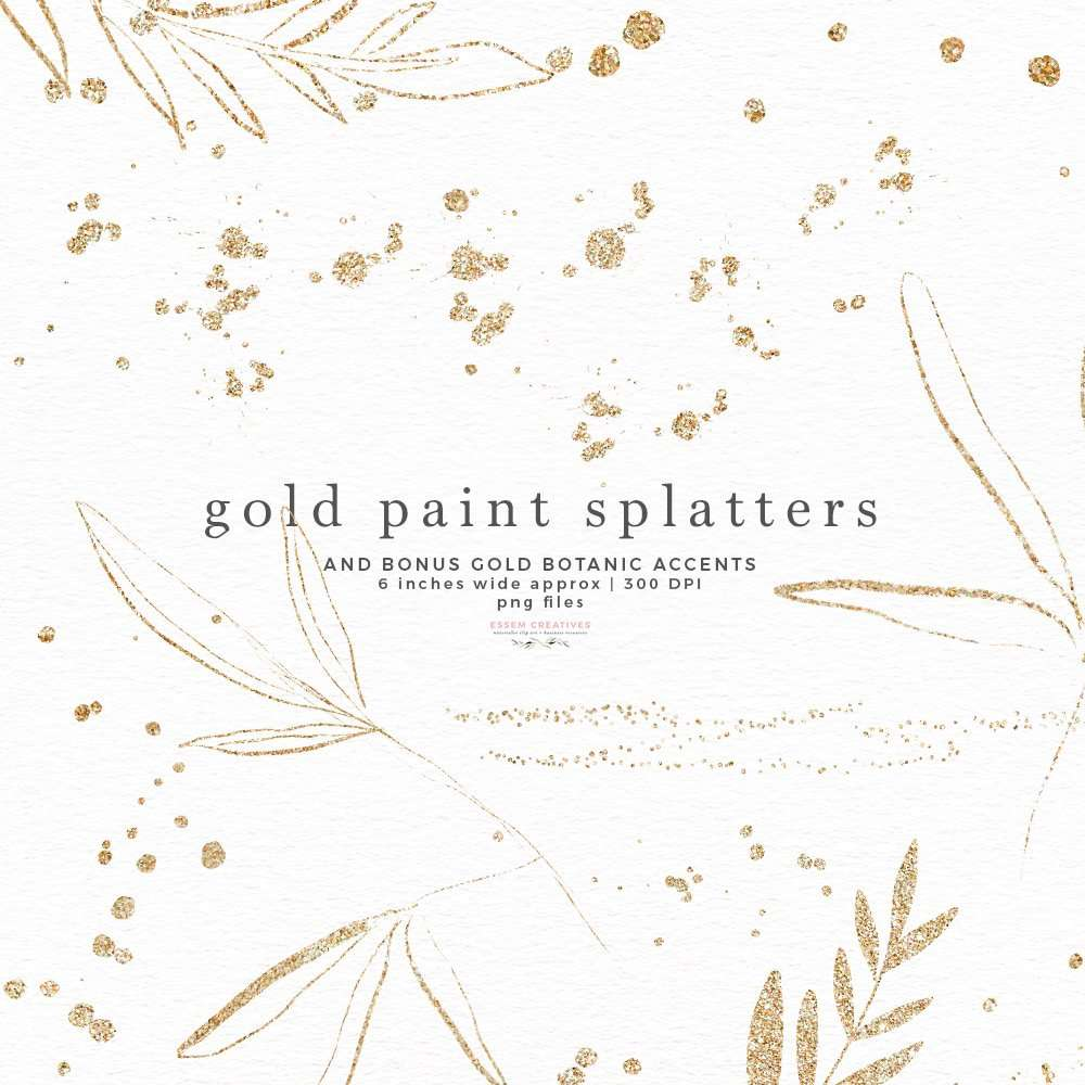 Gold Paint Splatters Clip art, Gold Glitter Sparkle Confetti Overlays PNG, Gold Leaves Accents | Logo Design & Branding, Scrapbooking, Instagram Story Highlight Icons and covers, social media posts as well. Create labels, birthday party invitations, bullet journal decor, digital planner stickers, save the date cards, photography marketing material, birthday party invites, baby shower decor, bridal shower invitations, nursery art prints, planner stickers commercial use | Click to see more>>