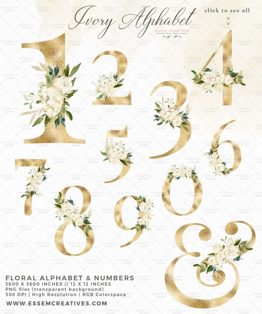 Gold White Floral Alphabet Digits Numbers Font Letters Clipart 2021 2022 2023 | Perfect for rustic, vintage watercolor wedding invitations, sublimation design png, print and cut file for cricut, bridal shower party, gender neutral baby shower invites, Save the Date cards, birthday party, menu, table numbers, welcome sign, logo branding packaging, gift tags, greeting cards, planner stickers for commercial use. Click to see more>>