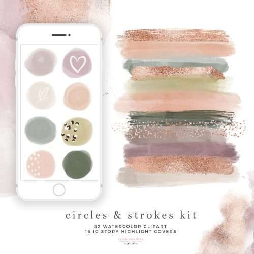 Pink Mauve Pale Neutral Rose Gold Watercolor Circles and Brush Strokes Branding Clipart Boho Insta Story Highlight Covers