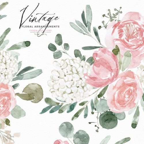Vintage Watercolor Flowers ClipArt for Wedding Invitations, Dusty Rose Pink Peonies Hydrangea Graphics | Spring Summer floral watercolor wedding invitations, Perfect for stationery designs, sublimation png design, print and cut file, circuit file, logo, branding, planner stickers, scrapbooking, bridal shower invitations, save the date cards, logo & branding, gift tags, girl baby shower invitations, greeting cards, birthday party or bridal shower invites and more. Click to see more>>