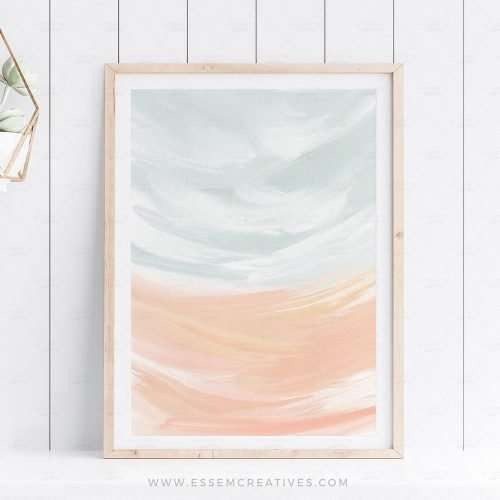 Put up this sunset seascape abstract landscape print in soft, soothing and calming colors to create a well designed space that will impress your friends and family. It will look great in a neutral, modern home, in a farmhouse cottage, in a decor that is styled in the french country style, or anything needing a splash of color without overwhelming the senses.