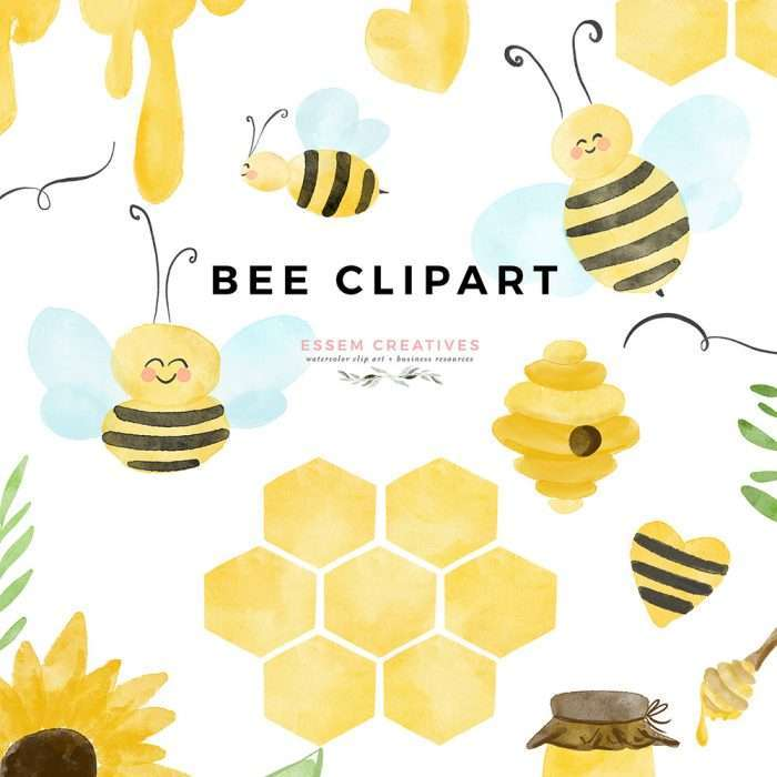 Bee Honeybee Honey Honeycomb Bumble Bee clipart graphics for Bee Themed Birthday Party Baby Shower Bridal Shower Classroom Decor