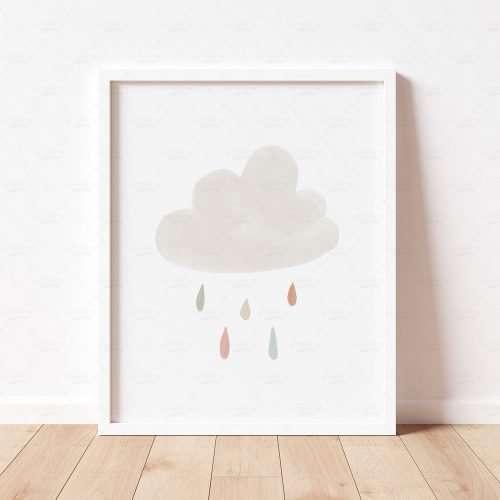 Neutral Cloud and Rain Print, Boho Nursery Decor, Playroom Prints, Scandi Nursery Poster