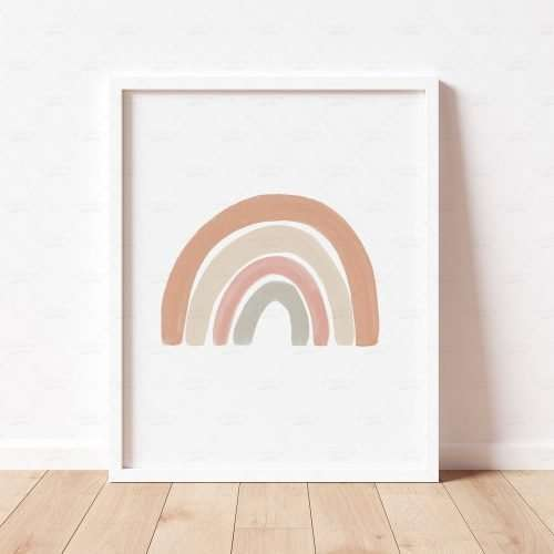 Neutral Rainbow Print, Boho Rainbow Poster, Gender Neutral Nursery Decor, Playroom Prints, Scandi Nursery Poster