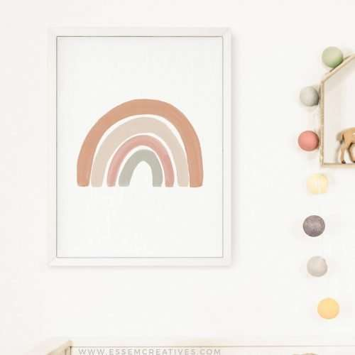 Neutral Rainbow Print, Boho Rainbow Poster, Gender Neutral Nursery Decor, Playroom Prints, Scandi Nursery Poster