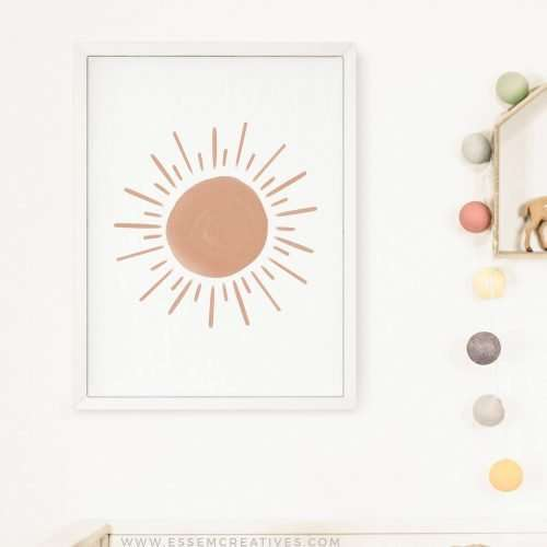 Neutral Sun Print, Boho Sun Wall Art Print, Printable Nursery Decor, Gender Neutral Nursery Print, Playroom Prints