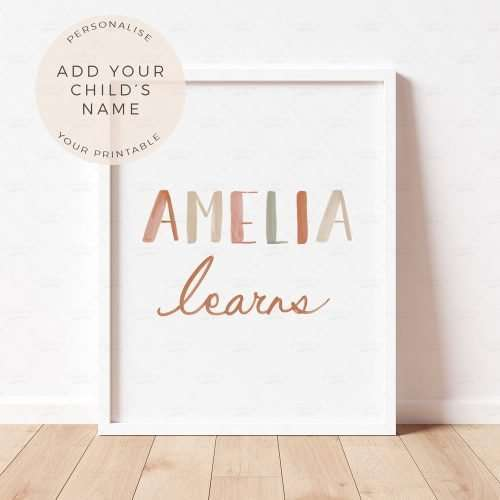 Personalised Name Poster, Nursery Print, Playroom Decor Wall Art, Educational Print