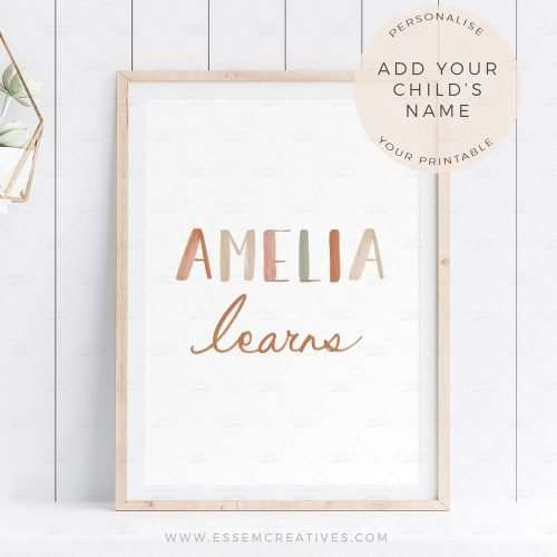 Personalised Name Poster, Nursery Print, Playroom Decor Wall Art, Educational Print