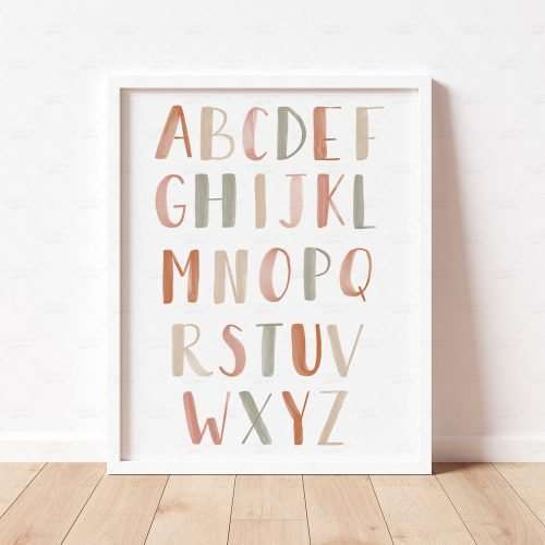 Printable Alphabet Poster, Neutral Boho ABC Print for Nursery Decor, Playroom Decor